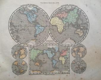 1861 Original Antique Hand-Coloured Engraved World Map - Hemispheres - E.Von Sydow German Atlas - Wall Decor - World Map - Home Decor