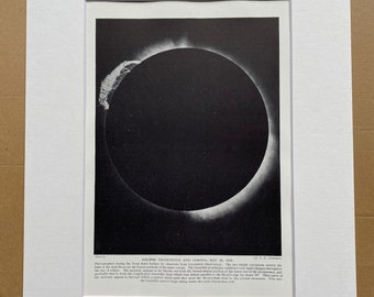 1923 Eclipse Prominence and Corona, May 29, 1919 Original Antique Print - Mounted and Matted - Available Framed - Astronomy - Planet