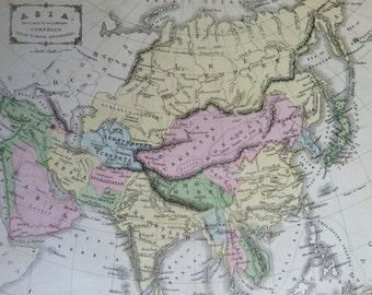 1869 ASIA Rare Original Antique Map, 11 x 13.5 inches, historical wall decor, Cornell Atlas, Home Decor, Cartography, Geography
