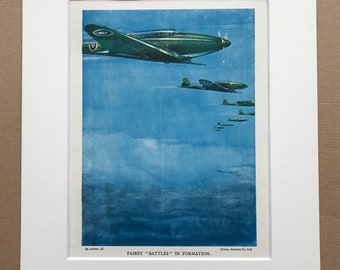 1940 Fairey 'Battles' in Formation Original Vintage Print - Mounted and Matted - Aircraft - Airplane - RAF - Available Framed