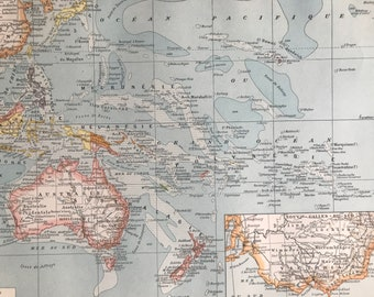 1897 Oceania Original Antique Map - Australia - New Zealand - Micronesia - Pacific Islands - Mounted and Matted - Available Framed
