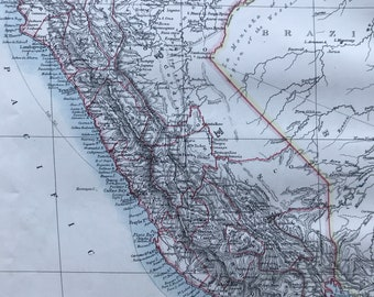 1901 Peru Original Antique Map - South America - Mounted and Matted - Available Framed