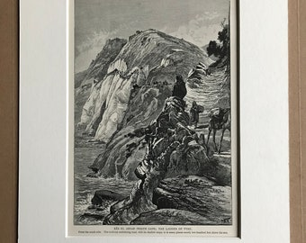 1880 Ras el Abyad (White Cape) The Ladder of Tyre, Lebanon Original Antique Engraving - Mounted and Matted - Available Framed