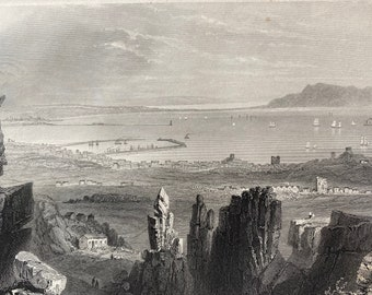 1840 Dublin Bay, from Kingstown Quarries Original Antique Engraving - Ireland - Mounted and Matted - Available Framed