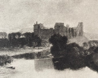 1902 Cockermouth Castle by JMW Turner Original Antique Photogravure - Cumbria - William Turner - Mounted and Matted - Available Framed