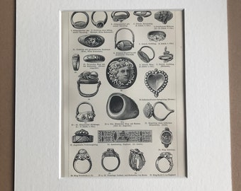 1897 Rings Original Antique Print - Mounted and Matted - Jewellery - Available Framed