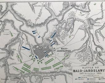 1875 Battle of Maro-Jaroslawitz, 1812 Original Antique Map - Napoleonic Wars - Battle Map - Military History - Available Framed