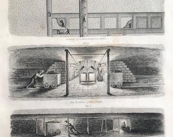 1858 Mining - Mine Diagram Original Antique Engraving - Metalliferous Mine - Mine Shaft Coal Mine - Victorian Technology - Available Framed
