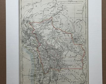 1906 Bolivia Original Antique Map - Mounted and Matted - Available Framed