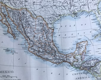 1901 Mexico Original Antique Map - Mounted and Matted - Available Framed