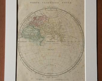 1865 ORBIS VETERIBUS NOTUS Original Antique World Hemisphere Map - Ancient World - Europe, Asia, Africa - Globe