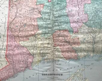 1907 Connecticut Large Original Antique Map - Vintage Decor, United States, CT State Map
