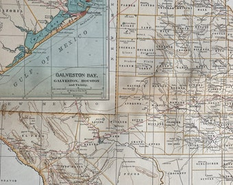 1903 Texas (Western Part) Original Antique Map with inset map of Galveston Bay, Houston & Vicinity