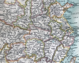 1912 China Original Antique Map - Mounted and Matted - Available Framed