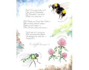 Bee! I'm Expecting You! (Emily Dickinson): 8.5x11 Fine Art Print featuring artwork from Letter No. 17