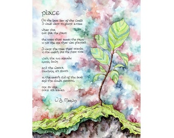 Place (W.S. Merwin): 8.5x11 Fine Art Print featuring artwork from Letter No. 31