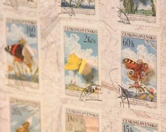 Vitrine de timbres découpés à la main illustrés de papillons, inspirée des boîtes à insectes entomologiques   Monde minuscule #13