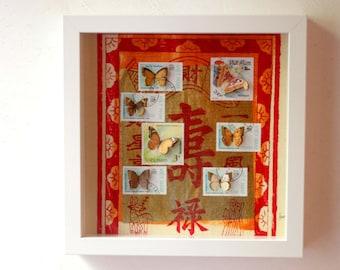 Vitrine de timbres découpés à la main illustrés de papillons, inspirée des boîtes à insectes entomologiques   Monde minuscule #10