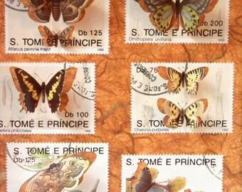 Vitrine de timbres découpés à la main illustrés de papillons, inspirée des boîtes à insectes entomologiques   Monde minuscule #16