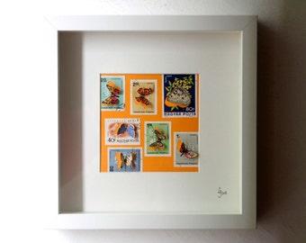 Vitrine de timbres découpés à la main illustrés de papillons, inspirée des boîtes à insectes entomologiques   Monde Minuscule #23