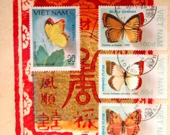 Vitrine de timbres découpés à la main illustrés de papillons, inspirée des boîtes à insectes entomologiques   Monde minuscule #9