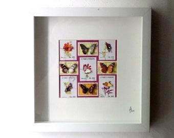 Vitrine de timbres découpés à la main illustrés de papillons, inspirée des boîtes à insectes entomologiques   Monde Minuscule #19