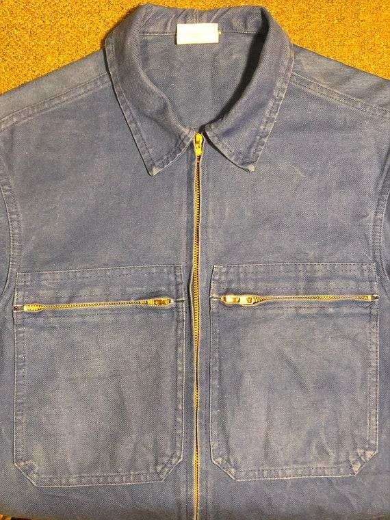 60s 70s Bleu Travail Chore Jacket Workwear Mens La