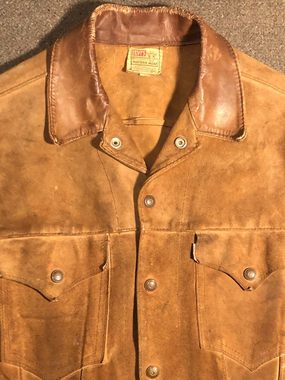 Levis Suede Leather Trucker Jacket Brown Tan Mens
