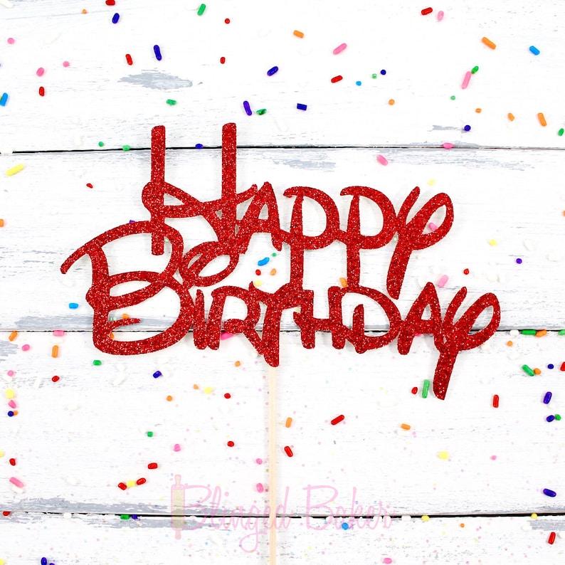 Happy Birthday Disney font Cake Topper Pie Topper | Etsy