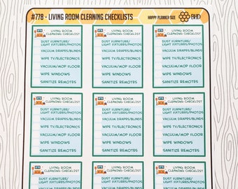 Living Room Cleaning Checklists (Set of 12) Item #778