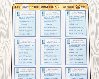 Basic Kitchen Cleaning Checklists (Set of 12) Item #766