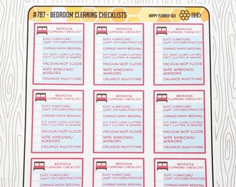Bedroom Cleaning Checklists (Set of 12) Item #787