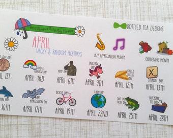 April Wacky & Random Holiday Stickers (Set of 16) Item #163
