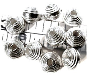 20 x Hill Tribe Silver Spiral Coil Beads, 4mm, Fair Trade, Karen Hill Tribe silver, fine silver, jewellery making, silver beads, UK seller