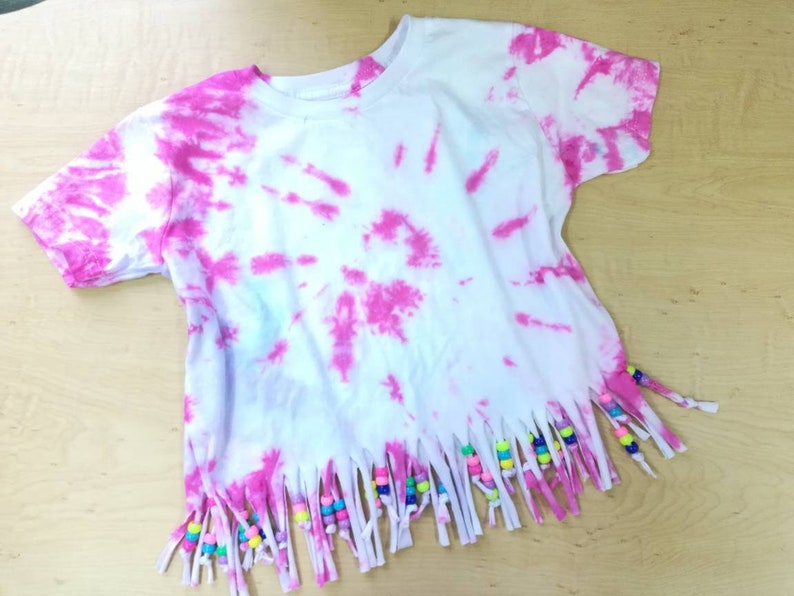 ad211980113d0 Toddler tie dye shirt with fringe beads, tie dye shirt, toddler shirt, kids  tie dye shirt, boho kids shirt, tie dye, toddler girl shirt