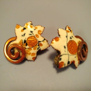 MATISSE RENOIR Wind Song Enamel and Copper Earrings  Windsong Clip on Earrings  1950/'s  Mid Century Style  Signed
