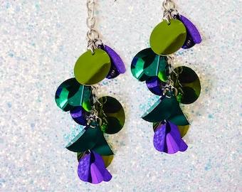 violet, purple, green, blue, cyan, metallic sequins, dangling earrings, silver