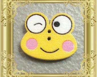 Cross Stitch Needle Minder - Yellow Frog Winking