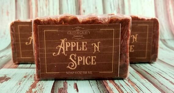 Apple N Spice savon, automne parfumée au savon, hydratant savon, savon de l'acné, cadeaux de Noël, bas de Noël, savon cannelle