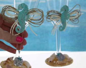 Turquoise Seahorse Wedding Glasses/ Beach Themed Toasting Flutes