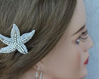 Rhinestone Starfish Bridal Comb/ Beach Comb / Beach Wedding Accessories
