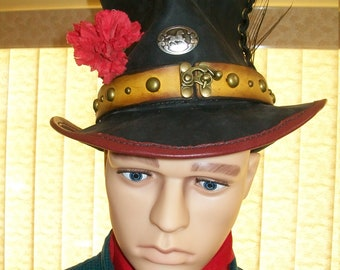 Steampunk Mad Hatter Leather Hat