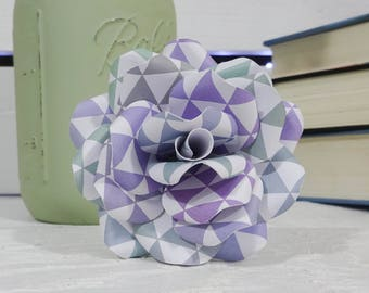 Purple Paper Flowers - Paper Flowers with stems - Paper Flower Bouquet - Mother's Day gift - Paper Anniversary - First Anniversary