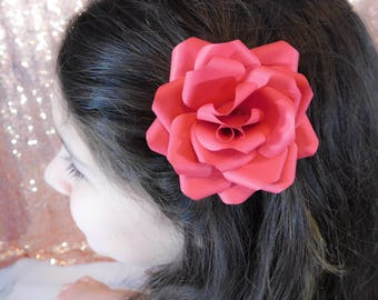 Flower Girl Hair Clip - Flower Hair Clip - Paper Flower Hair Clip - Red Paper Flower - Red Flower Hair clip - Wedding Flower Hair Piece