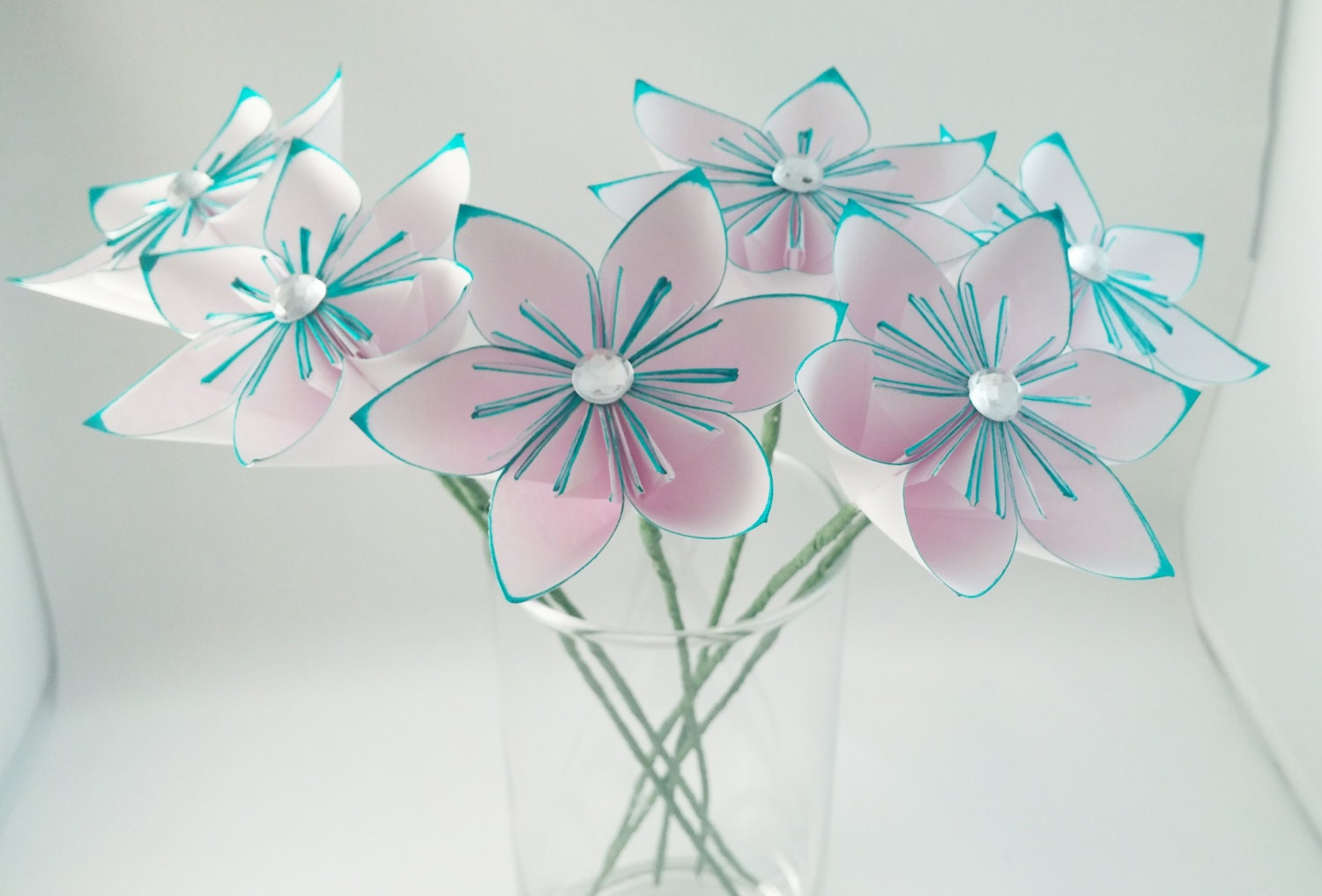 Teal Paper Flowers Paper Flowers With Stems Mothers Etsy