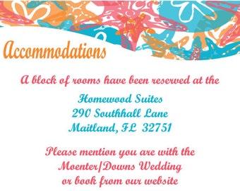 Starfish and Sand Dollar Wedding Accomodations Card