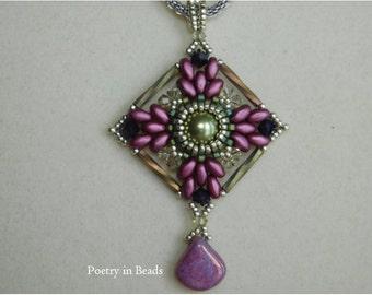 Bead Pendant Tutorial, Beading Pattern, Beadweaving, Erika Pendant, Superduo, Swarovski bicone, Bugle Bead, Delica beads, Instructions