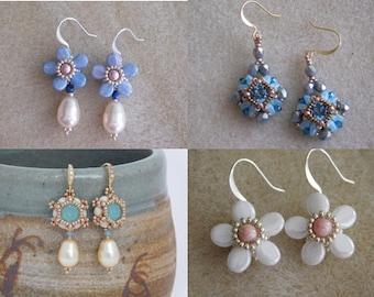 3 Earring Tutorials, Kathryn, Alice and Violet Earring Tutorials, Beaded Earrings Tutorial, Beading Pattern, Beadweaving, Swarovski, 3 PDFs