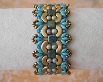 Beaded Bracelet Tutorial, Beading Bracelet Pattern, Persephone Bracelet, Arcos Beads, Superduo, Czechmates Tile, Beadweaving, Swarovski, PDF