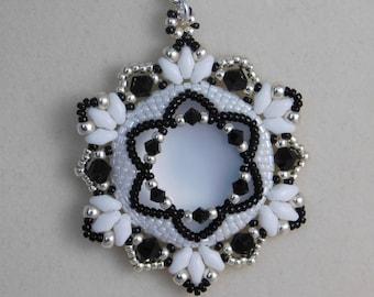 Bead Pendant Tutorial, Jewelry Pendant Pattern, Instructions, Beadweaving, Necklace, Beaded, Lunasoft Cabochon, Swarovski, PDF, Super Duo